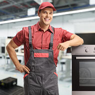 Appliance installer with a red shirt-square